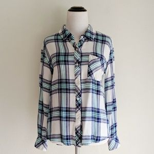 Rails White and Turquoise Flannel Button Down